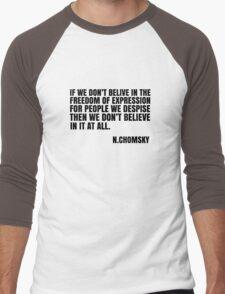 Noam Chomsky Quote Free Speech Freedom  Men's Baseball ¾ T-Shirt
