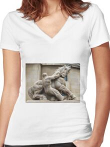 Man Controlling Trade Women's Fitted V-Neck T-Shirt