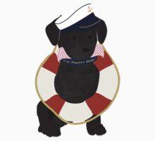 Nautical Dog Preppy Black Lab Sailor One Piece - Short Sleeve