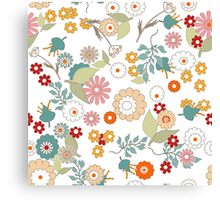Retro floral pattern, digital print retro cartoon cute background Canvas Print