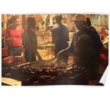 Street grill at night, the Lolo's, Grand Case St. Martin  Poster