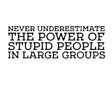 Stupid People Cool Quote Power Freedom idiots Photographic Print