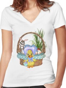 Easter Chicken  Women's Fitted V-Neck T-Shirt