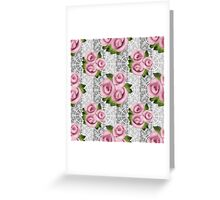 Retro floral pink roses pattern, digital print retro lace background Greeting Card
