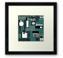 Pattern print with gifts of perfume and cosmetics retro background Framed Print