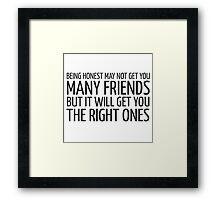 John Lennon Quote Friends Friendship Cool Inspirational Framed Print