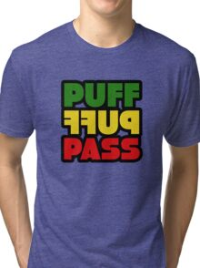 Weed Stoner Puff Puff Pass Pot Funny Cool Rasta Jamaica Tri-blend T-Shirt