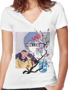 Yung Lean Anime Vaporwave Women's Fitted V-Neck T-Shirt