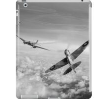 Spitfire attacking Heinkel bomber, black and white version iPad Case/Skin