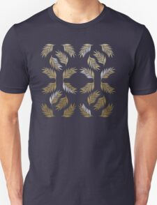 Palm Fronds in Gold and White Unisex T-Shirt