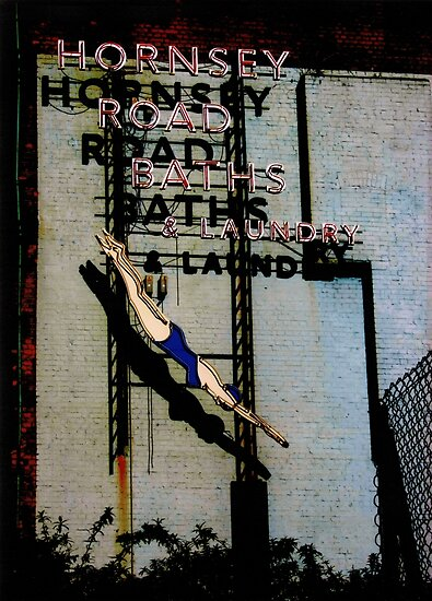 Hornsey Road Baths & Laundry neon by Alastair McKay