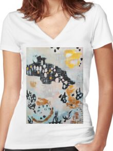 Abstract painting 3 Women's Fitted V-Neck T-Shirt