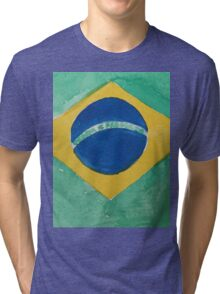 Brazil National Flag in Water Colors Green, Blue and Yellow Tri-blend T-Shirt