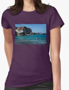 Swimming at the Baths on Virgin Gorda, British Virgin Islands, BVI Womens Fitted T-Shirt