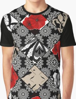 Ornamental pattern patchwork design print with flowers of poppy Graphic T-Shirt