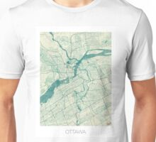 Ottawa Map Blue Vintage Unisex T-Shirt