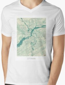 Ottawa Map Blue Vintage Mens V-Neck T-Shirt