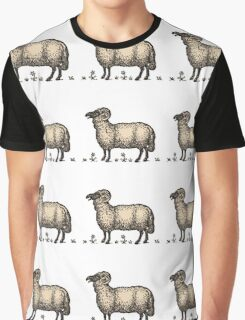 Vintage Sheep Illustration Antique Animal Drawing Graphic T-Shirt