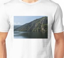 Steep Shores and Green Summer Light - a Mountain Lake Impression Unisex T-Shirt