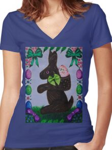 Easter treats and springtime fun Women's Fitted V-Neck T-Shirt