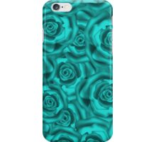 Retro floral blue roses pattern, digital print  iPhone Case/Skin