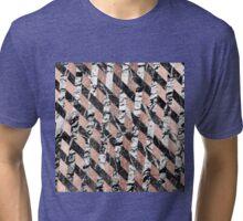 Modern Black and White Marble Rose Gold Crisscross Tri-blend T-Shirt
