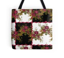 Retro floral poppy pattern, digital print in retro patchwork style Tote Bag