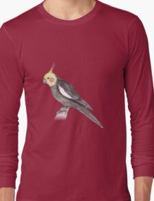 Watercolorpainting of a male Cockatiel Long Sleeve T-Shirt