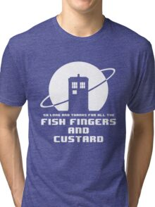 Fish Fingers and Custard White Tri-blend T-Shirt