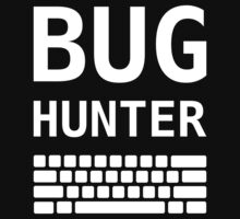 BUG HUNTER with Keyboard - Design for Test Engineers White Font Baby Tee