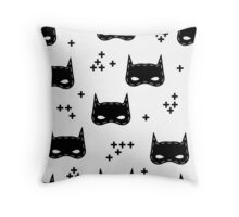 Kids pattern with super hero mask Throw Pillow
