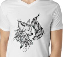 Fox B&W  Mens V-Neck T-Shirt