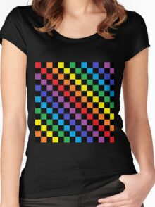 Checkered Rainbow Black  Women's Fitted Scoop T-Shirt