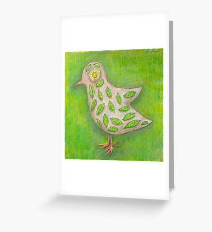 Green floral bird design Greeting Card