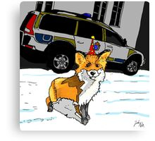 Fox n cops Canvas Print
