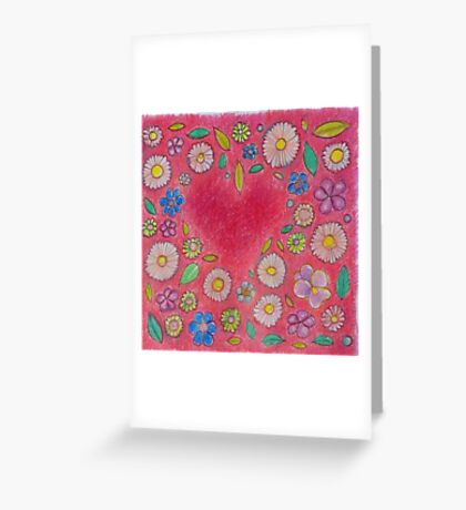 Pink Floral Heart Design Greeting Card