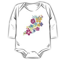 Tropical Watercolor Flowers  One Piece - Long Sleeve