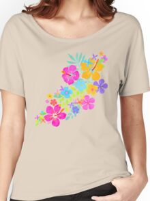 Tropical Watercolor Flowers  Women's Relaxed Fit T-Shirt