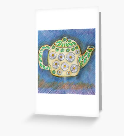 Cute Teapot with Daisy Design Greeting Card
