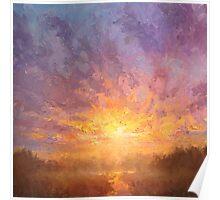 Impressionistic Sunrise Landscape Painting Poster