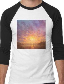 Impressionistic Sunrise Landscape Painting Men's Baseball ¾ T-Shirt