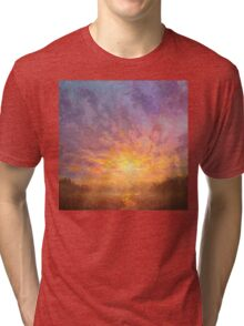 Impressionistic Sunrise Landscape Painting Tri-blend T-Shirt