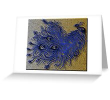 Blue Peacock with Mosaic Background  Greeting Card