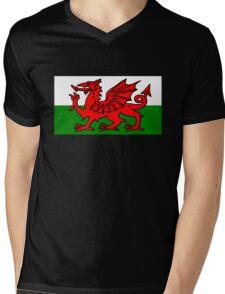 Welsh Flag Mens V-Neck T-Shirt