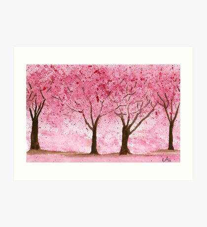 Cherry Trees. Watercolor Painting Art Print Fine Art Print from Watercolor Painting Cherry Trees Landscape Painting Art Watercolor Wall Art Art Print