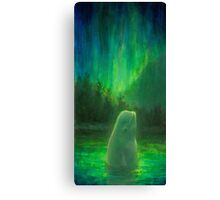 Aurora Beluga - White Whale Northern lights Painting Canvas Print