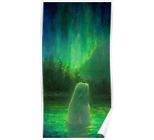 Aurora Beluga - White Whale Northern lights Painting Poster