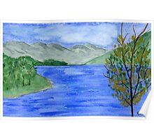 Blue Landscape - Watercolor Painting Poster