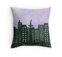 Lights of the city - Watercolor Painting Throw Pillow