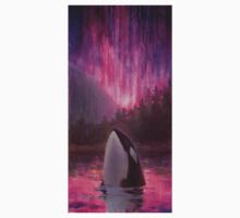 Aurora Orca - Killer Whale and Northern lights Coastal Painting One Piece - Short Sleeve